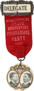 """Political:Pinback Buttons (1896-present), Roosevelt & Johnson: Beautiful Jugate Badge for this 1912 """"BullMoose"""" Ticket...."""