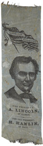 Political:Ribbons & Badges, Abraham Lincoln: Large, Impressive 1860 Silk Campaign Ribbon. ...