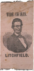 """Political:Ribbons & Badges, Abraham Lincoln: Unlisted 1860 """"Wide-Awakes"""" Silk Campaign Ribbon From Connecticut. ..."""