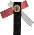 Political:Memorial (1800-present), Abraham Lincoln: Pristine 1864-Dated Ferrotype Pin with Original Silk Ribbon Backing. ...