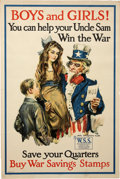 "Military & Patriotic:WWI, ""Boys and Girls! You Can Help your Uncle Sam Win the War"" World WarI Savings Stamp Patriotic Poster by James Montgomery Flagg..."
