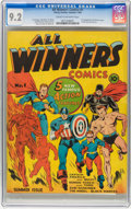Golden Age (1938-1955):Superhero, All Winners Comics #1 (Timely, 1941) CGC NM- 9.2 Cream to off-white pages....