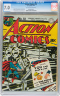 Golden Age (1938-1955):Superhero, Action Comics #58 (DC, 1943) CGC FN/VF 7.0 Off-white to white pages....