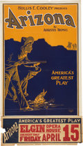 "Entertainment Collectibles:Theatre, ""Hollis E. Cooley Presents Arizona by Augustus Thomas""Theatrical Poster, Circa 1908...."