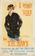 "Autographs:Artists, ""I Want You for the Navy"" World War I ""Christy Girl"" RecruitingPoster Signed by Howard Chandler Christy, 1917...."