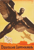 "Transportation:Aviation, ""Deutsche Lufthansa"" 1936 Olympics Airline Advertising Poster. ..."