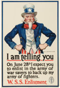 """Military & Patriotic:WWI, """"I Am Telling You"""" World War I Uncle Sam Patriotic Poster by JamesMontgomery Flagg, 1918...."""