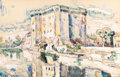 Fine Art - Work on Paper:Watercolor, PAUL SIGNAC (French, 1863-1935). Tarascon. Watercolor and conte crayon on paper. 11 x 17 inches (27.9 x 43.2 cm). Signed...
