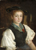 Fine Art - Painting, European:Antique  (Pre 1900), Attributed to ALBERT ANKER (Swiss, 1831-1910). Bauernmädchen(Farm Girl), 1886. Oil on canvas. 15-1/2 x 11-3/8 inches (3...
