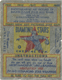 """1934-36 R327 National Chicle """"Diamond Stars"""" Wax Paper Wrapper"""