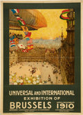 "General Historic Events:World Fairs, ""Universal and International Exhibition of Brussels, April-November1910"" Large World's Fair Advertising Poster, Art by Henri ..."