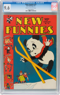 New Funnies #72 (Dell, 1943) CGC NM+ 9.6 Cream to off-white pages