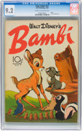 Golden Age (1938-1955):Cartoon Character, Four Color #12 Bambi (Dell, 1942) CGC NM- 9.2 Cream to off-white pages....