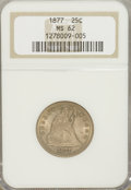 Seated Quarters: , 1877 25C MS62 NGC. NGC Census: (24/239). PCGS Population (30/239).Mintage: 10,911,710. Numismedia Wsl. Price for problem f...