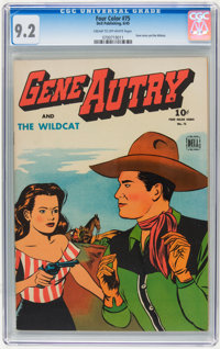 Four Color #75 Gene Autry (Dell, 1945) CGC NM- 9.2 Cream to off-white pages
