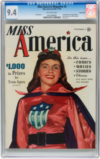 Miss America Magazine #2 Carson City pedigree (Timely, 1944) CGC NM 9.4 Off-white pages
