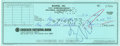 Music Memorabilia:Autographs and Signed Items, Frank Zappa Signed Check....