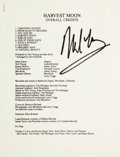 Music Memorabilia:Autographs and Signed Items, Neil Young Signed Harvest Moon Credits and Lyrics....