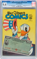 Golden Age (1938-1955):Cartoon Character, Walt Disney's Comics and Stories #46 (Dell, 1944) CGC NM 9.4 Creamto off-white pages....