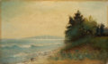 Paintings, A. WEBER (European, 19th Century). Coastal landscape. Oil on canvas. 8-1/4 x 13-1/2 inches (21.0 x 34.3 cm). Signed lowe...
