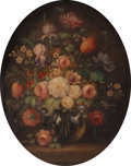 Fine Art - Painting, American:Modern  (1900 1949)  , BETTY STUDIOS (American, circa 1900). Floral Still Life(oval). Oil on canvas. 30 x 23 inches (76.2 x 58.4 cm). Signedt...