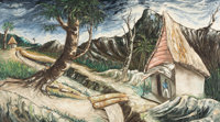 JACQUES ENGUERRAND GOURGUE (Haitian, 1930-1996) Lush mountainous landscape with island hut, figure and stream</...