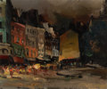 Fine Art - Painting, European:Contemporary   (1950 to present)  , OLIVIER FOSS (French, born 1920). Street scene with cafes atnight. Oil on canvas. 18-1/4 x 21-3/4 inches (46.4 x 55.2 c...