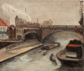 Fine Art - Painting, American:Modern  (1900 1949)  , FRENCH SCHOOL (20th Century). Barges on the Seine, Paris,February 1938. Oil on canvas. 18 x 21-3/4 inches (45.7 x 55.2 ...