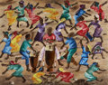 Fine Art - Painting, American:Contemporary   (1950 to present)  , MURAT BRIERE (Haitian, 1938-1988). Islanders dancing arounddrummers. Oil on masonite board. 27-1/2 x 35-3/4 inches (69....