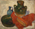 Fine Art - Painting, European:Modern  (1900 1949)  , VIOLET MEGE (French, born Algeria 1889). Still Life with Tambourine and Jugs. Oil on canvas. 18 x 22 inches (45.7 x 55.9...