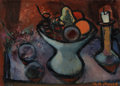Fine Art - Painting, European:Contemporary   (1950 to present)  , PHILIPPE-MARIE PICARD (French, 1915-1997). Nature morte (StillLife with Fruit and Candle), c. 1959. Oil on canvas. 13 x...