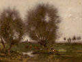 Fine Art - Painting, American:Antique  (Pre 1900), ALFRED CORNELIUS HOWLAND (American, 1838-1909). Pastorallandscape with cows resting. Oil on artists' canvasboard.9-1/2...