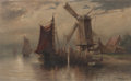 Fine Art - Painting, American:Antique  (Pre 1900), WILLIAM RITSCHEL (American, 1864-1949). Dutch harbor withwindmill. Oil on canvas. 26 x 16 inches (66.0 x 40.6 cm).Sign...