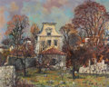 Fine Art - Painting, European:Contemporary   (1950 to present)  , MAURICE BUFFET (French,1909-2000). Townhouse with walledgarden, c. 1950. Oil on canvas. 31 x 39-1/4 inches (78.7 x99.7...