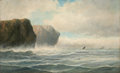 Fine Art - Painting, American:Antique  (Pre 1900), O. F. BAKER (American, Late 19th century). Oceanscape with shipsin the distance. Oil on canvas. 22 x 36 inches (55.9 x ...