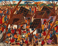Fine Art - Painting, American:Contemporary   (1950 to present)  , LAURENT CASIMIR (Haitian, 20th Century). Two paintings:Islanders Receiving Aid, and Islanders With Coconuts.Oil on... (Total: 2 Items)