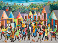 Fine Art - Painting, American:Contemporary   (1950 to present)  , PHILTON LATORTUE (Haitian, 20th century). Junkano festival with masked figures in the streets . Oil on masonite board. 2...
