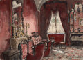 Works on Paper, ALEXANDRE NIKOLAEVICH BENOIS (Russian/French, 1870-1960). Interior of a Room, 1924. Watercolor and pencil on paper. 12 x...