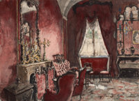 ALEXANDRE NIKOLAEVICH BENOIS (Russian/French, 1870-1960) Interior of a Room, 1924 Watercolor and pen