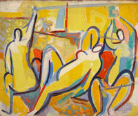 Caziel (Polish/British, 1906-1988) Abstract figures of bathers in yellow interior, c. 1947 Oil on ca