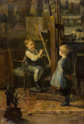 Fine Art - Painting, European, HENRY JULES JEAN GEOFFROY (French, 1853-1924). In the Artist'sStudio. Oil on canvas. 21-3/4 x 15 inches (55.4 x 38.1 cm...