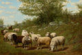 Fine Art - Painting, American:Antique  (Pre 1900), ARTHUR FITZWILLIAM TAIT (American, 1819-1905). Landscape withSheep, 1893. Oil on canvas. 18 x 27 inches (45.7 x 68.6 cm...
