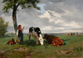Fine Art - Painting, European:Antique  (Pre 1900), ROSA BONHEUR (French, 1822-1899). Shepherdess and Two Cows in aMeadow, circa 1842-45. Oil on canvas. 13 x 18 inches (33...