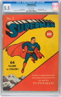 Golden Age (1938-1955):Superhero, Superman #2 (DC, 1939) CGC FN- 5.5 Off-white pages....