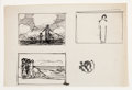 Fine Art - Work on Paper:Drawing, ROCKWELL KENT (American, 1882-1971). Four Sheets of OriginalDrawings. Pen and ink on paper. Two bear stamps; one is sig...