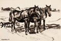 Fine Art - Work on Paper:Drawing, FRITZ WINKLER (German, 1894-1964). Group of 2 Brush and InkDrawings of Horses in the Field (Plowing Team, 1924; TheHaywa...