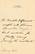 Autographs:U.S. Presidents, Franklin D. Roosevelt: Autograph Note Signed (Third Person) Likelyfrom his Harvard Years....
