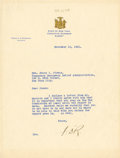 """Autographs:U.S. Presidents, Franklin D. Roosevelt: Typed Letter Signed """"FDR"""" as New YorkGovernor...."""