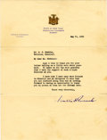 Autographs:U.S. Presidents, Franklin D. Roosevelt: Typed Letter Signed as New York Governor....