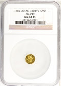 California Fractional Gold: , 1869 25C Liberty Octagonal 25 Cents, BG-749, High R.5, MS64Prooflike NGC. (#71...